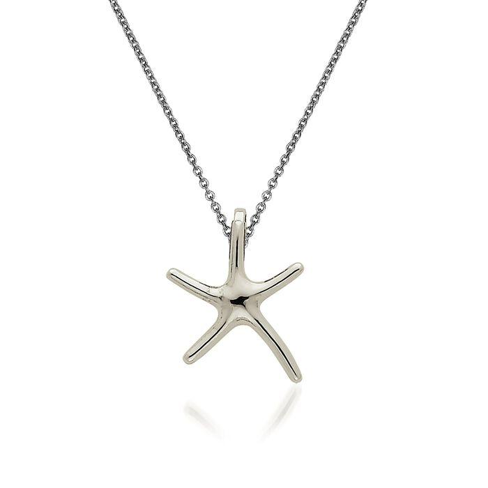 "14kt White Gold Starfish Pendant Necklace. 18"", , default"