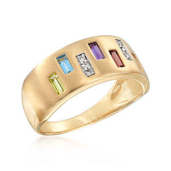.50 ct. t.w. Multi-Gem Ring with Diamond Accents in 14kt Yellow Gold, , default