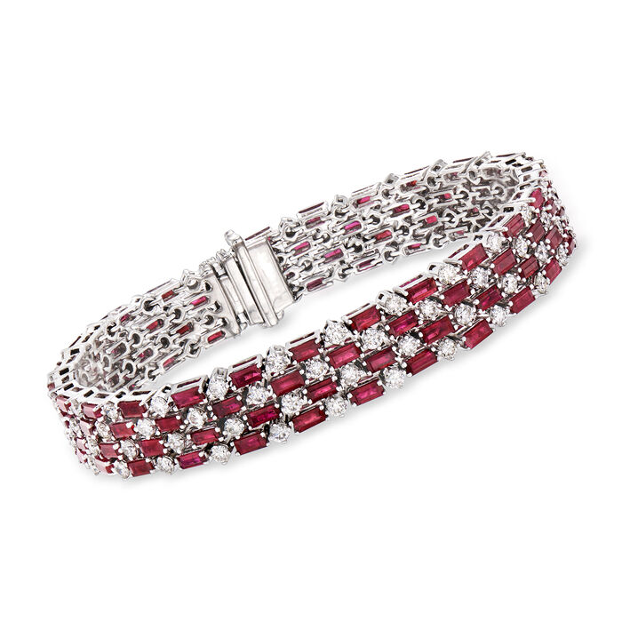 """13.00 ct. t.w. Ruby and 5.88 ct. t.w. Diamond Tennis Bracelet in 18kt White Gold. 7.5"""", , default"""