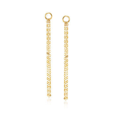 14kt Yellow Gold Chain Drop Earrings, , default