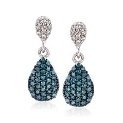 .47 ct. t.w. Pave Blue and White Diamond Drop Earrings in Sterling Silver, , default