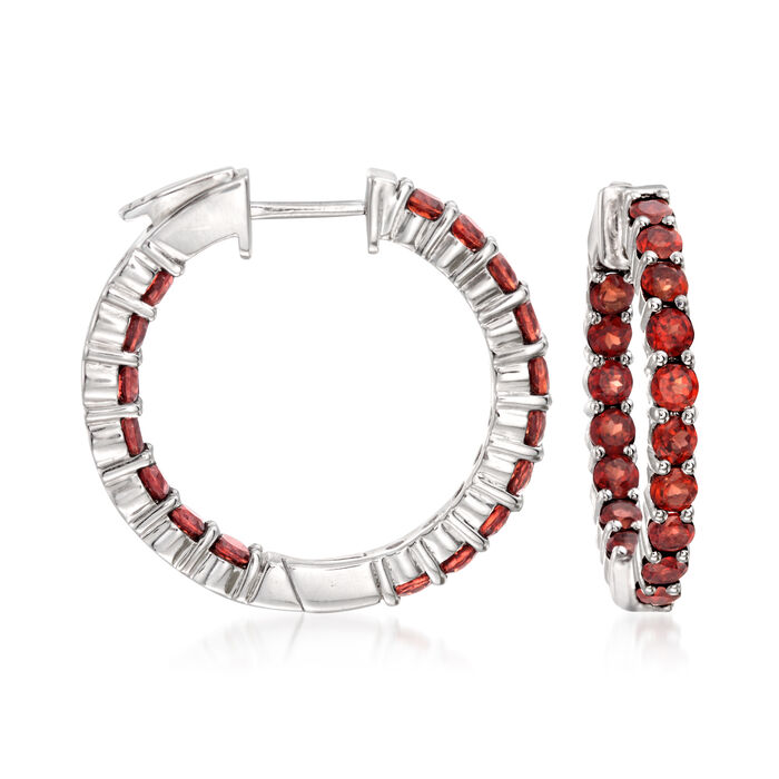 """3.40 ct. t.w. Garnet Inside-Outside Hoop Earrings in Sterling Silver. 1"""""""
