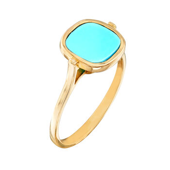 Italian 8x8mm Stabilized Turquoise Ring in 14kt Yellow Gold, , default
