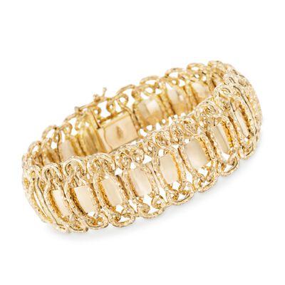 Italian 14kt Yellow Gold Woven Link Bracelet, , default