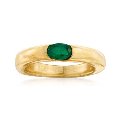 C. 1990 Vintage Cartier .35 Carat Emerald Ring in 18kt Yellow Gold, , default