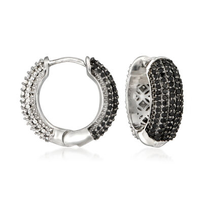 1.00 ct. t.w. Black and White Diamond Reversible Huggie Hoop Earrings in Sterling Silver, , default