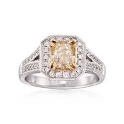 1.32 ct. t.w. Fancy Yellow and White Diamond Engagement Ring in 18kt Two-Tone Gold, , default