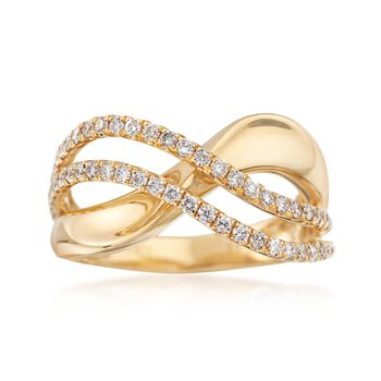 .52 ct. t.w. Diamond Wave Ring in 18kt Yellow Gold, , default