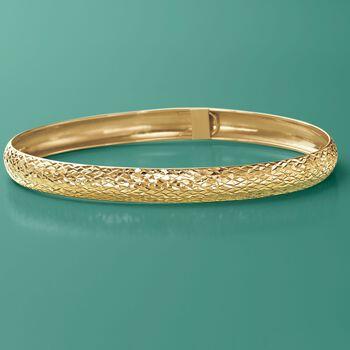 "14kt Yellow Gold Textured Bangle Bracelet. 7.5"", , default"