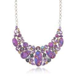 Purple Turquoise and 73.40 ct. t.w. Multi-Stone Mosaic Collar Necklace in Sterling Silver, , default