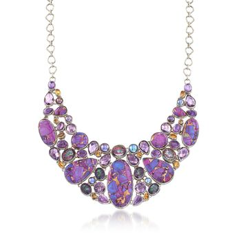 """Purple Turquoise and 73.40 ct. t.w. Multi-Stone Mosaic Collar Necklace in Sterling Silver. 18"""", , default"""