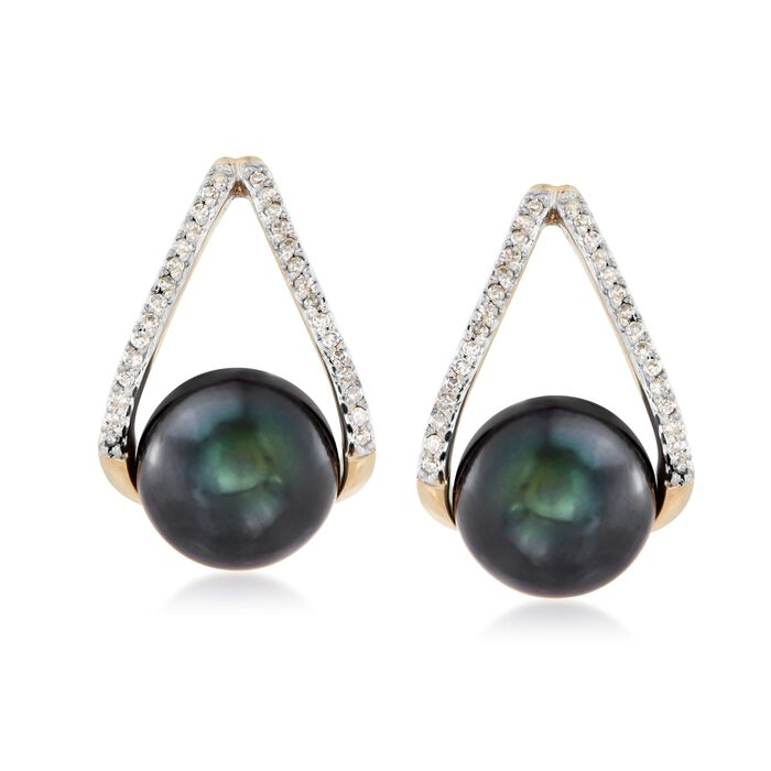8-8.5mm Black Cultured Pearl and .12 ct. t.w. Diamond Double Hoop Earrings in 14kt Gold