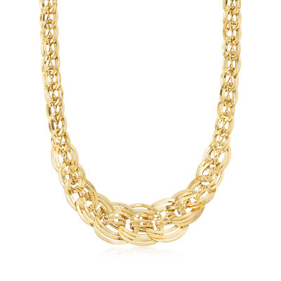 Italian 18kt Yellow Gold Interlocking Link Necklace, , default