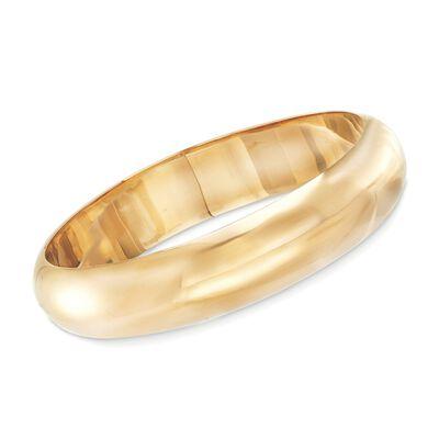 18kt Yellow Gold Over Sterling Silver Bangle Bracelet, , default