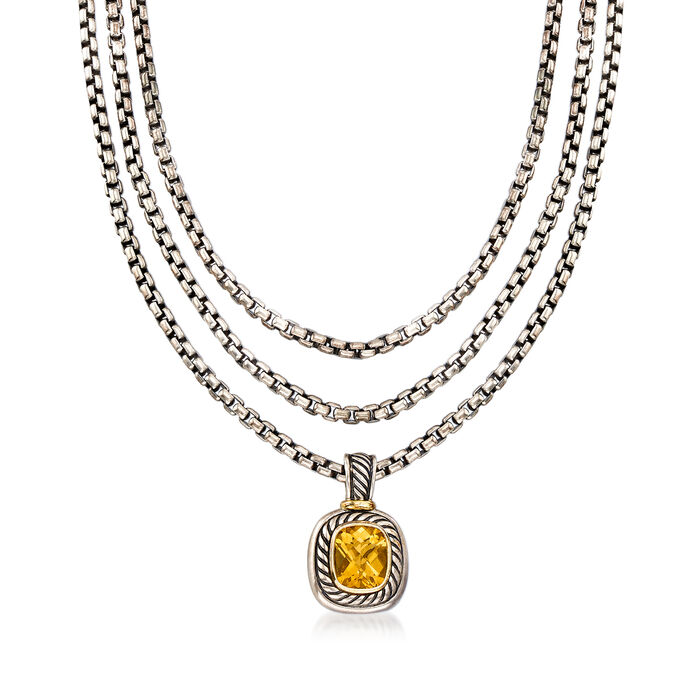 """C. 1990 Vintage David Yurman 3.75 Carat Citrine Three-Row Necklace in Sterling Silver with 14kt Yellow Gold. 16"""", , default"""