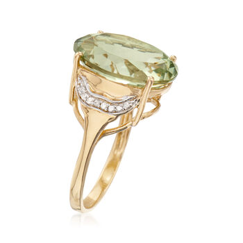 8.50 Carat Green Prasiolite Ring with Diamond Accents in 14kt Gold Over Sterling. Size 5, , default