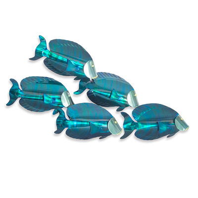 T.I. Design Stainless Steel School of 5 Tang Fish Wall Art , , default