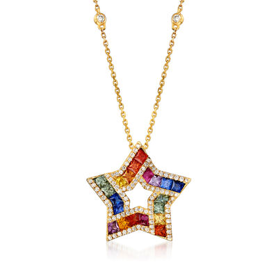 1.90 ct. t.w. Multicolored Sapphire and .38 ct. t.w. Diamond Star Necklace in 14kt Yellow Gold