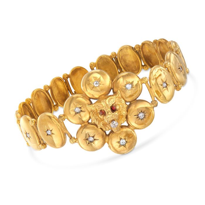 "C. 1950 Vintage .50 ct. t.w. Diamond Lion Head Disc Bracelet with Red Glass in 9kt Yellow Gold. 7.25"", , default"