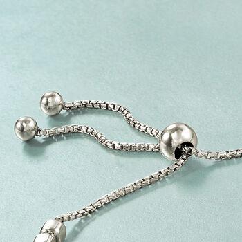 Italian Sterling Silver Square Bead Bolo Bracelet, , default