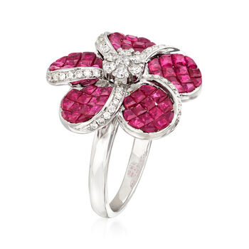 3.00 ct. t.w. Ruby and .35 ct. t.w. Diamond Flower Ring in 18kt White Gold, , default