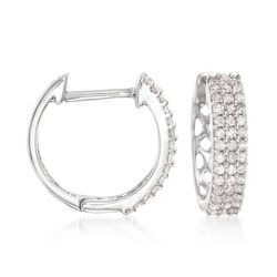 ".25 ct. t.w. Diamond Huggie Hoop Earrings in 14kt White Gold. 3/8"", , default"