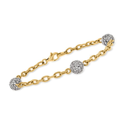 C. 2000 Vintage 1.75 ct. t.w. Diamond Ball Station Cable-Link Bracelet in 18kt Yellow Gold