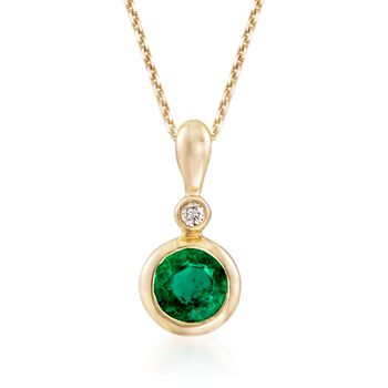 """.20 Carat Bezel-Set Emerald Pendant Necklace With Diamond Accent in 14kt Yellow Gold. 16"""", , default"""
