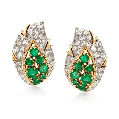 C. 1980 Vintage 2.50 ct. t.w. Emerald and 2.20 ct. t.w. Diamond Leaf Earrings in 18kt Yellow Gold, , default