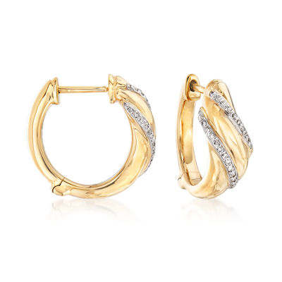 .18 ct. t.w. Diamond Double-Row Sash Hoop Earrings in 14kt Yellow Gold, , default