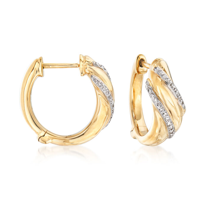 .18 ct. t.w. Diamond Double-Row Sash Hoop Earrings in 14kt Yellow Gold