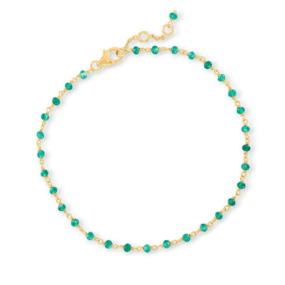 Green Chalcedony Anklet in 18kt Gold Over Sterling