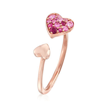 .40 ct. t.w. Pink Sapphire Open Heart Ring in 14kt Rose Gold