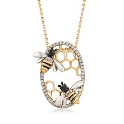 .34 ct. t.w. Black and White Diamond Bee Pendant Necklace in 14kt Yellow Gold, , default