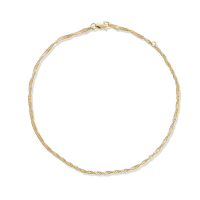 14kt Yellow Gold Twist Singapore Anklet, , default
