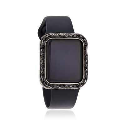 Black Crystal Apple-Inspired Halo Bezel Watch Case in Silver-Plated Brass
