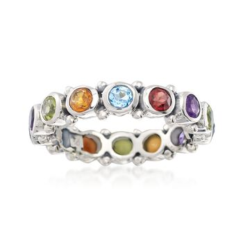 1.60 ct. t.w. Multi-Stone Eternity Band in Sterling Silver, , default