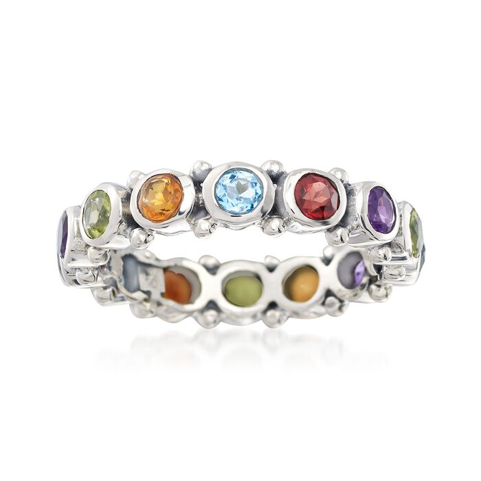 1.50 ct. t.w. Multi-Stone Eternity Band in Sterling Silver, , default