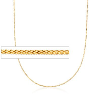 1.2mm 14kt Yellow Gold Adjustable Popcorn Chain Necklace