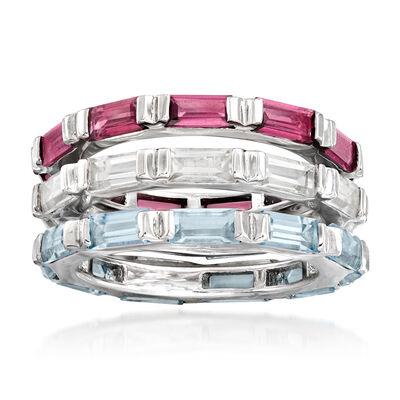 7.50 ct. t.w. Multi-Gemstone Jewelry Set: Three Rings in Sterling Silver, , default