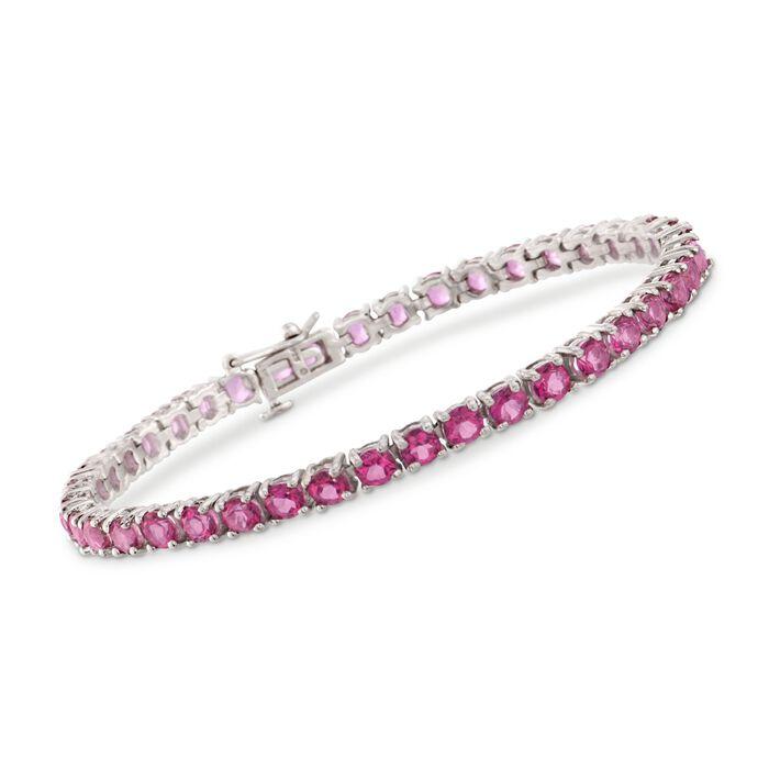 "14.00 ct. t.w. Pink Topaz Tennis Bracelet in Sterling Silver. 7.25"", , default"