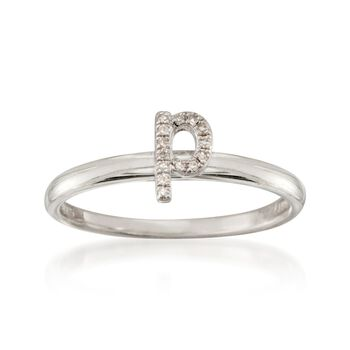 """Diamond Accent Mini Initial """"P"""" Ring in Sterling Silver, , default"""