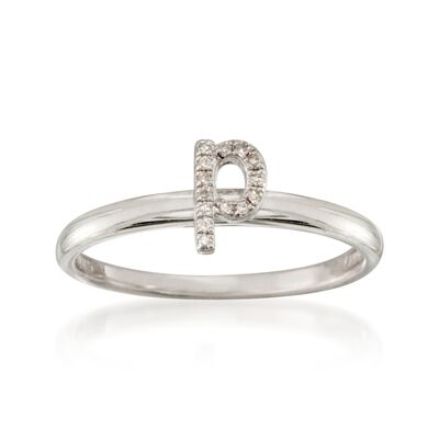 "Diamond Accent Mini Initial ""P"" Ring in Sterling Silver, , default"
