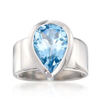 5.75 Carat Blue Topaz Ring in Sterling Silver, , default