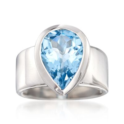 5.75 Carat Blue Topaz Ring in Sterling Silver, , default