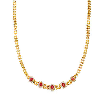 C. 1980 Vintage 2.20 ct. t.w. Ruby and 1.10 ct. t.w. Diamond Necklace in 18kt Yellow Gold, , default
