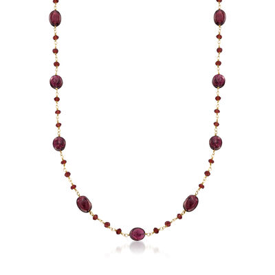 38.00 ct. t.w. Garnet Bead Necklace in 14kt Gold Over Sterling, , default