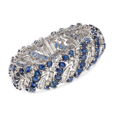 40.00 ct. t.w. Sapphire and 6.15 ct. t.w. Diamond Bracelet in 18kt White Gold, , default