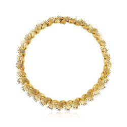 "C. 1970 Vintage 2.25 ct. t.w. Diamond Floral Necklace in 18kt Yellow Gold. 15"", , default"