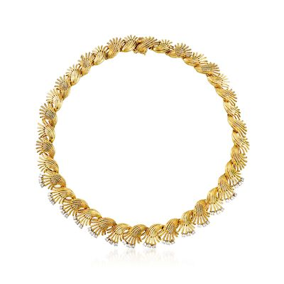 C. 1970 Vintage 2.25 ct. t.w. Diamond Floral Necklace in 18kt Yellow Gold, , default